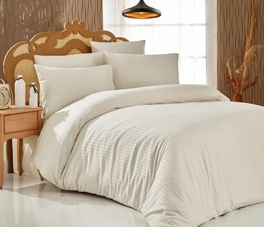 Komfort Home Çift Kişilik Çizgili Saten Nevresim Takımı Renkli